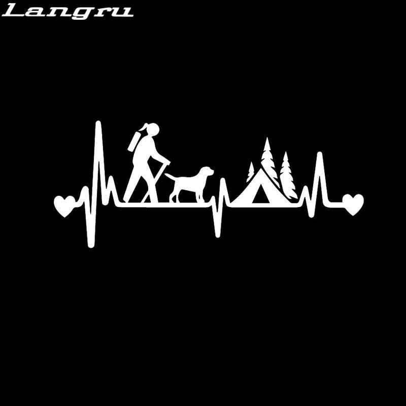 Langru 18.2X7.5CM Della Ragazza Escursionista di Campeggio Con Il Cane Camper Tenda Battito Cardiaco Ancora di Salvezza Autoadesivo Dell'automobile Del Vinile Decalcomanie Accessori Jdm