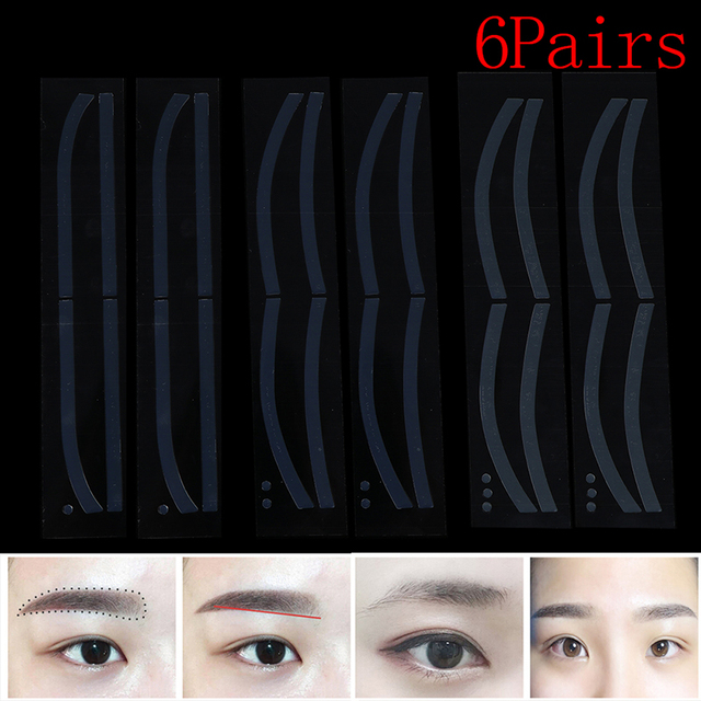 6Pairs Eyebrow Stickers Disposable Eyebrow Tattoo Shaping Sticker Auxiliary Template Brow Stencil Makeup