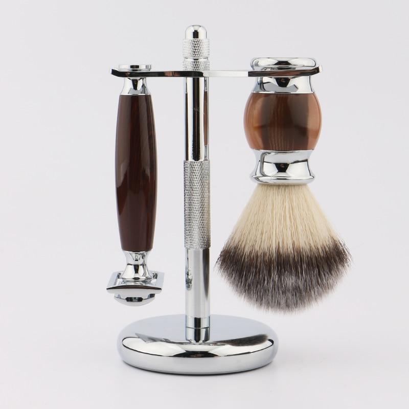 HAWARD Razor Professional Men Shaving Set Synthetic Hair Shaving Brush + Safety Razor +  Stainless Steel Razor Holder