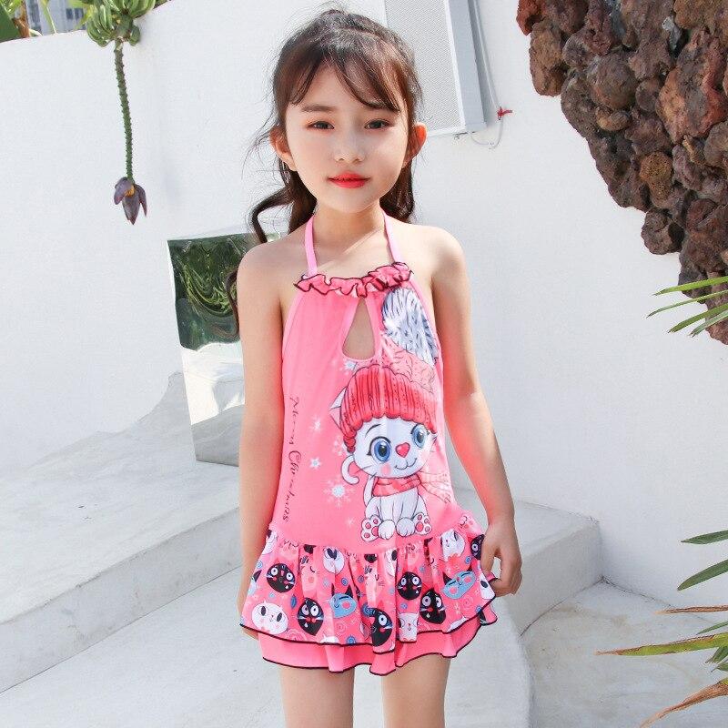 2019 New Style Hot Sales KID'S Swimwear Halter Backless Dress-Cartoon Cat Cake Layer GIRL'S Swimsuit
