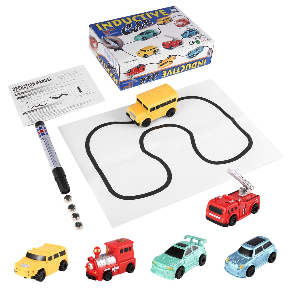 Enlighten Pen Draw toy railroad Inductive Trains Children's RC Train Tank Toy Car Draw Lines Induction Rail Track Car Kids