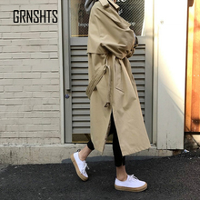 Autumn New Women Casual Trench Coat Oversized Double Breasted Vintage Outwear Sa