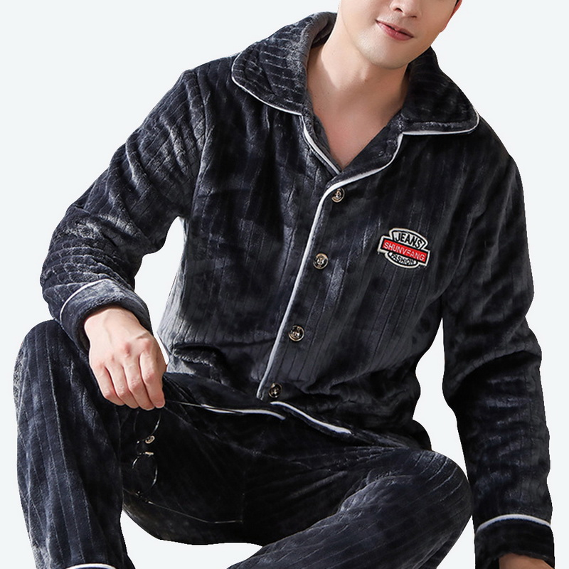 2019 Winter Men Sleepwears Homme Fleece 2Pcs Pajamas Sets Flannel Thick Warm Batnrobes Plus Size Nightgown Male Casual Homewears
