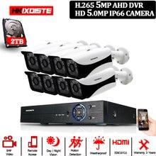 UHD DVR 5MP 16CH Face record CCTV Surveillance Kit RJ45&RS485&BNC Interface 8 PCS Outdoor Street Waterproof 2592*1944 Camera Set