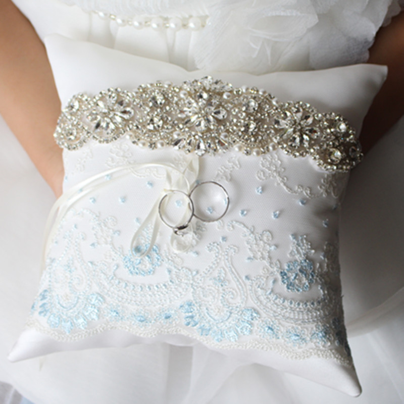 LIGHTBLUE Wedding Ring Pillow,Lace Wedding Ring Pillow Cushion Embroider Flower with Bow,sliver