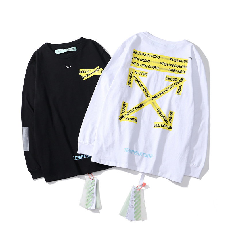 Off-White C 18 Yellow Cordon Printed Design Pullover Hoodie Men And Women Loose-Fit Hiphop