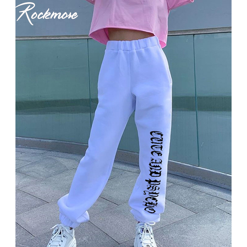 Rockmore Letter Printed Joggers Women High Waist Pants Trousers Streetwear Sweatpants Gothic Plus Size Harajuku Wide Leg Pants