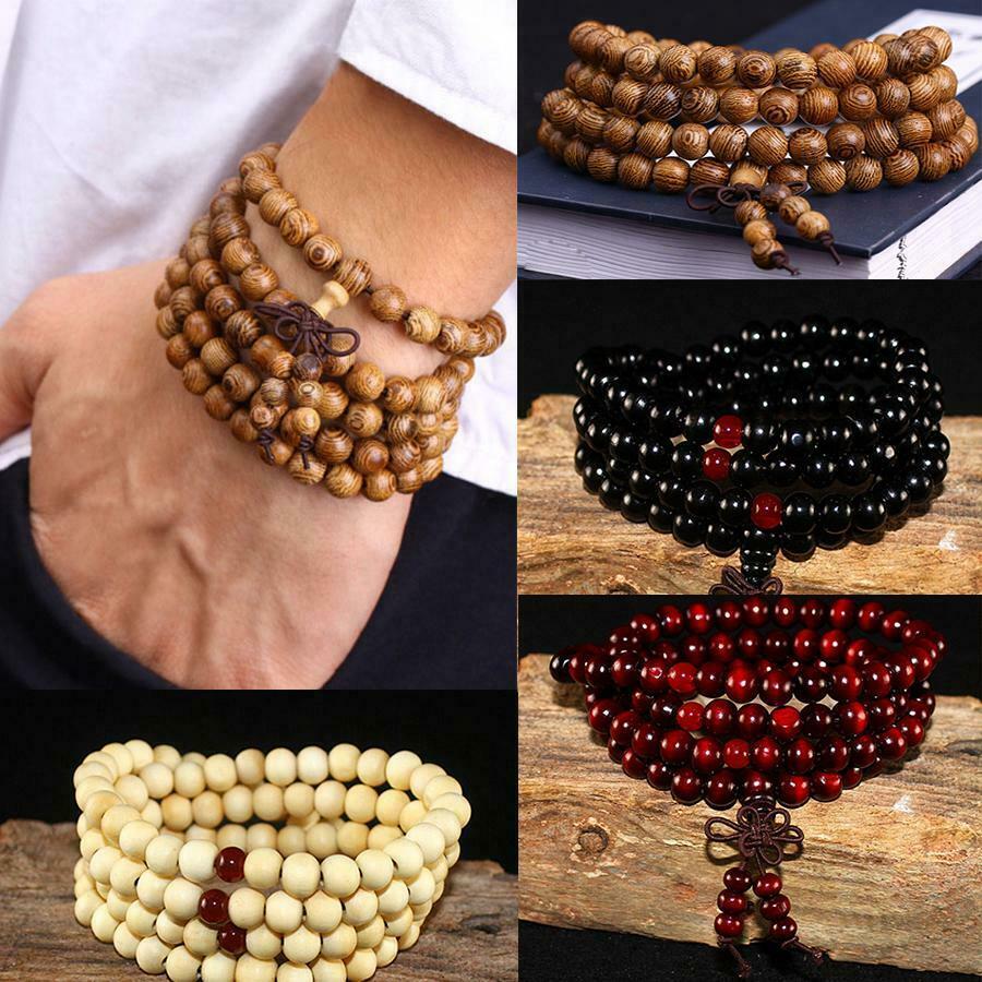 1 натуральный браслет Будды, медитация, деревянные молитвенные бусины, браслет Marathon, женское мужское ювелирное изделие, счастливый подарок
