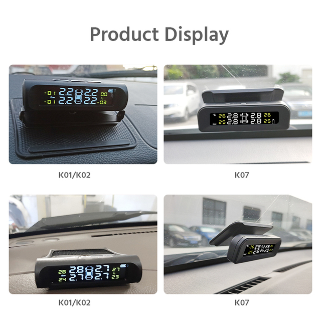 E-ACE Solar Power TPMS Car Tire Pressure Alarm Monitor System Auto Security Alarm Systems Tyre Pressure Temperature Warning 5