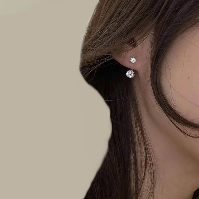 Fashion Zircon Front And Back Stud Earrings For Women 2021 New Jewelry Korean Simple Earings Wholesale 1