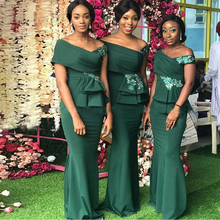 Satin Mermaid African Bridesmaid Dresses Green Plus Size Off The Shoulder Women Party Dress Sleeveless Appliques plus size flower sleeveless dress