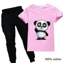 Детская летняя одежда футболка с рисунком панды для маленьких