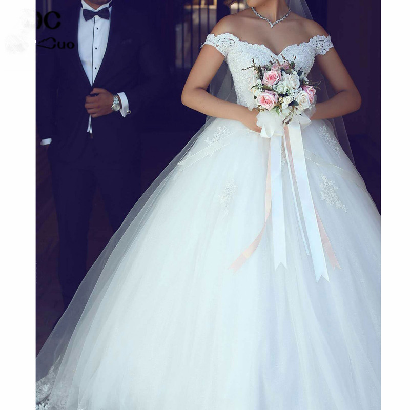 Luxuries 2019 Ball Gown Lace Wedding Dresses With V-Neck Short Sleeve Tulle Vestido De Noiva Off Shoulder Bridal Gowns