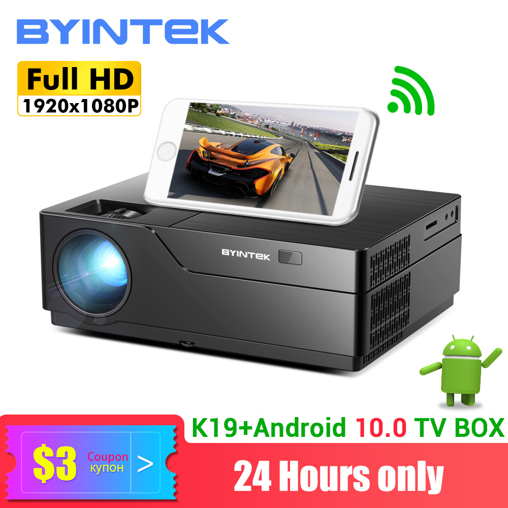 BYINTEK K19 Full HD 1080P Projector(Optional Android 10.0 TV Box),300inch 1920x1080 Video Beamer,LED  Proyector For 3D 4K Cinema