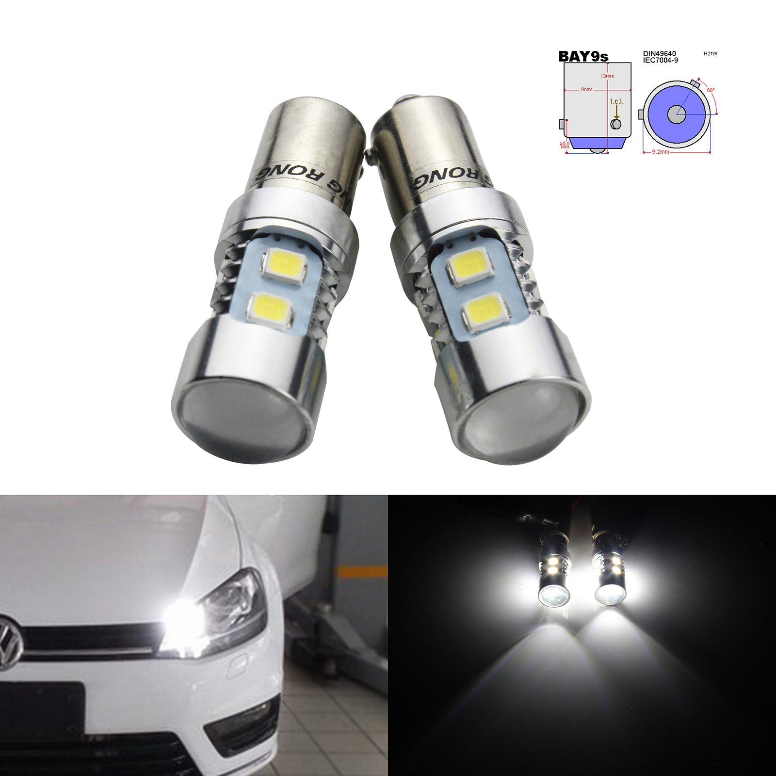 2X Xenon Side Light Xenon White Car Bulb 433 H6W Bax9S X Xenon 12V Dc Bayone 3
