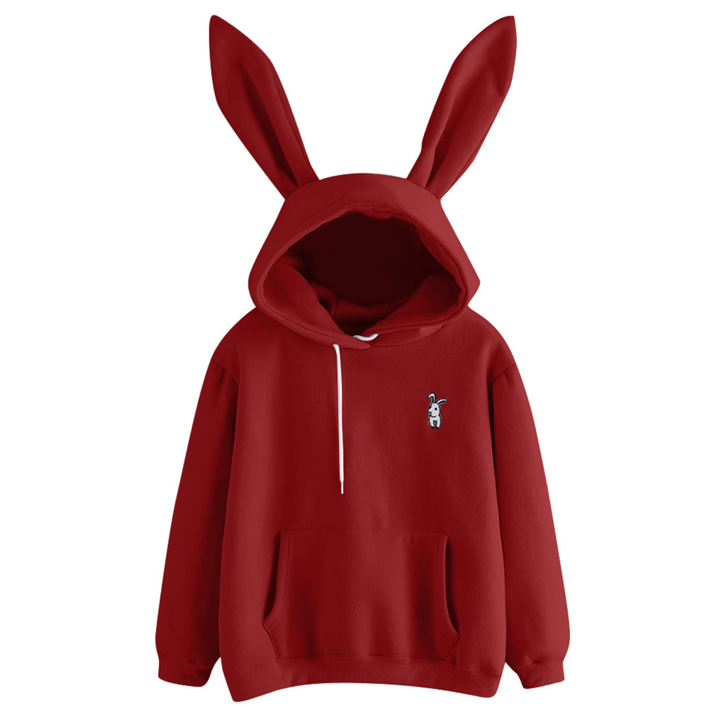 Womens Long Sleeve Rabbit Hoodie Sweatshirt Pullover Tops Blouse Sweatshirts With Ears Kawaii Harajuku Sudaderas Con Capucha