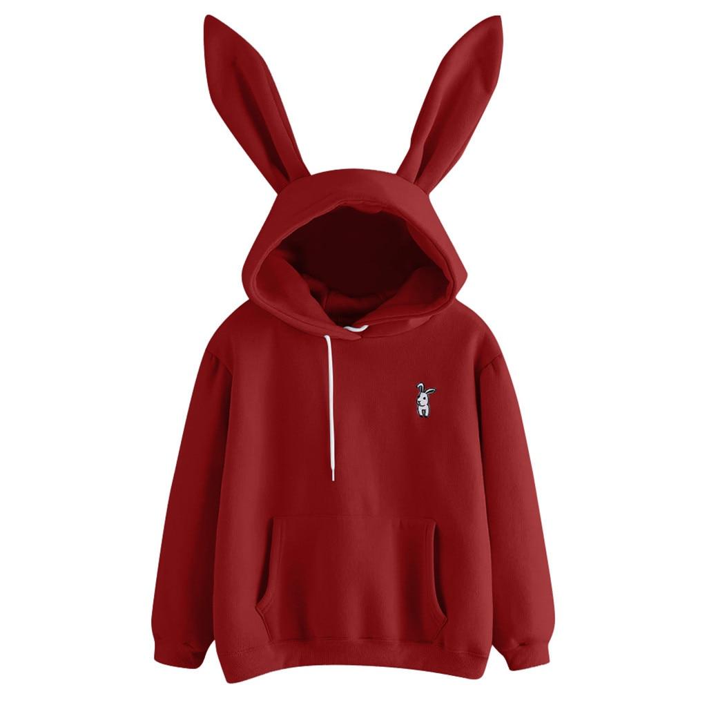 Womens Long Sleeve Rabbit Hoodie Sweatshirt Pullover Tops Blouse Sweatshirts With Ears Kawaii Harajuku Sudaderas Con Capucha