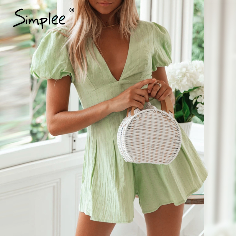 Simplee Sexy V Neck Women Green Playsuit Holiday Summer Female Buttons Cotton Rompers Jumpsuit Beach Style Short Ladies Overalls