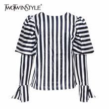 TWOTWINSTYLE Striped Shirts For Women O Neck Lantern Long Sleeve Loose Blouse To