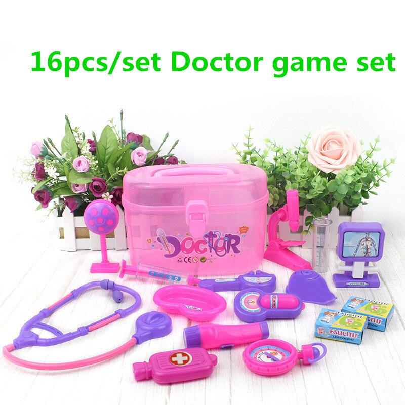 16pcs/set Children DIY Portable Suitcase Medical Kit Doctor Game Set Pretend Play Kids Pretend Play Educational Toys for Kids