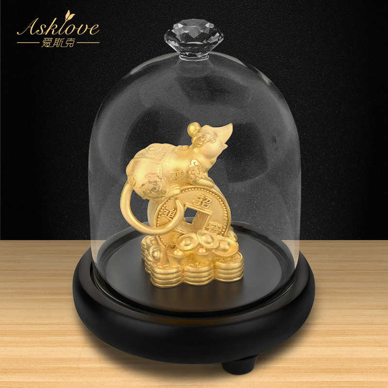 Money Rat Collect wealth Ornaments Chinese Zodiac Rat Gold Foil Crafts A thriving business Fengshui decor Home Office decoration