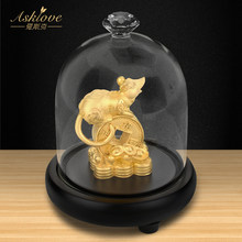 Money Rat Collect wealth Ornaments Chinese Zodiac Rat Gold Foil Crafts A thriving business Fengshui decor Home Office decoration(China)