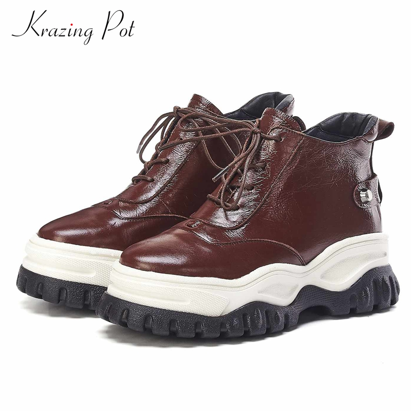 Krazing Pot 2019 Genuine Leather Round Toe Platform Casual Lace Up Fashion British School Thick High Bottom Vulcanized Shoes L92