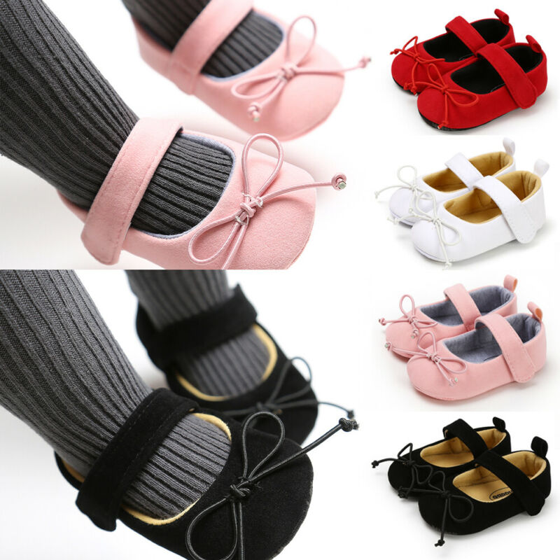 2019 New Big Bow Girls Crib Shoes Baby Toddlers First Walkers Baby Moccasins Soft Bottom Flock Suede Leather Baby Princess Shoes
