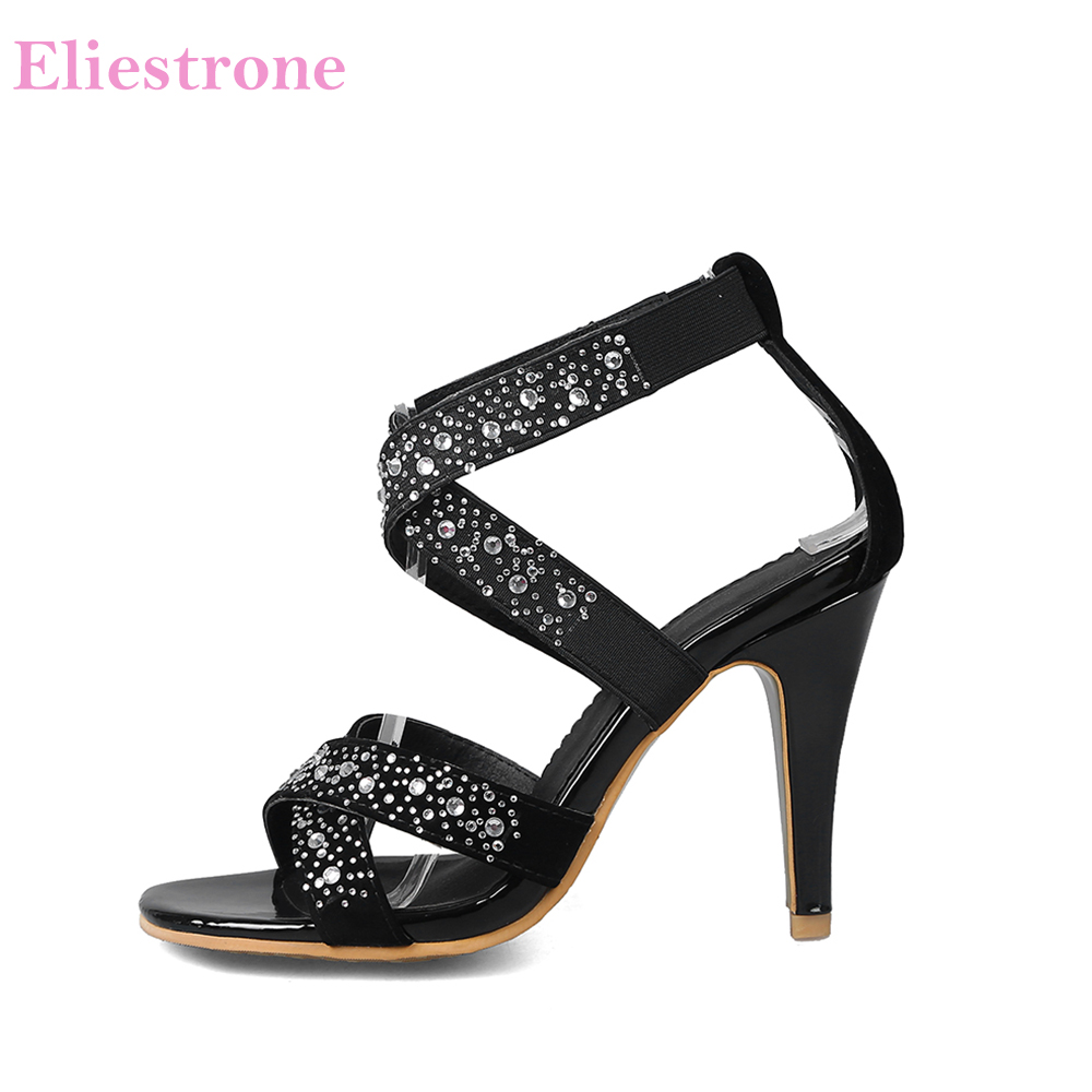 2019 Brand New <font><b>Sexy</b></font> Black Apricot Women Dress Sandals High Studded Heels Lady Party Shoes LA22 Plus Big Small Size <font><b>10</b></font> 31 45 48 image