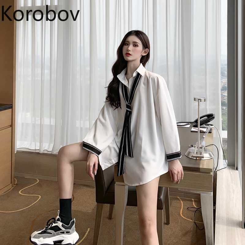 Korobov Retro Crazy Thiết Kế Phong Cách OL Áo Phụ Nữ Làm Việc Phong Cách Cổ Gập Phối Ren Miếng Dán Cường Lực Blusas Voan Áo Sơ Mi