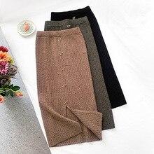 Wasteheart Autumn Winter Coffee Black Women Skirt High Waist A-Line Mid-Calf Long Skirts Clothing Knitting Rabbit Hair