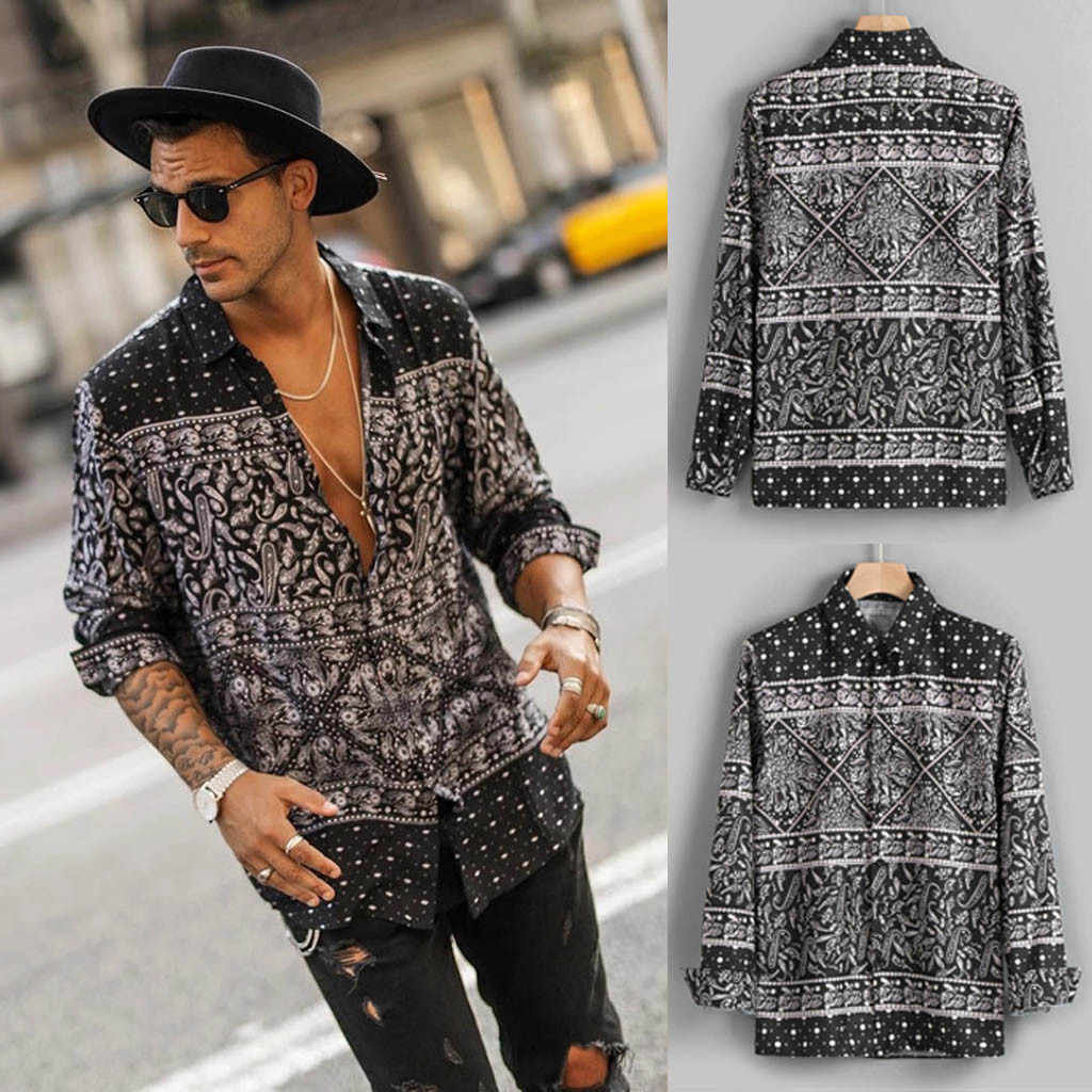 Mens Shirts Autumn Fashion Casual Long Sleeve Beach Top Loose Casual Shirt Blouse High Quality Soft Comfortable Males Shirt M50#