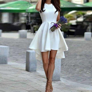 White Short Homecoming Dresses For Girls High Low Satin A-Line Princess Sleeveless Satin Ruffles Short Juniors Graduation Dress