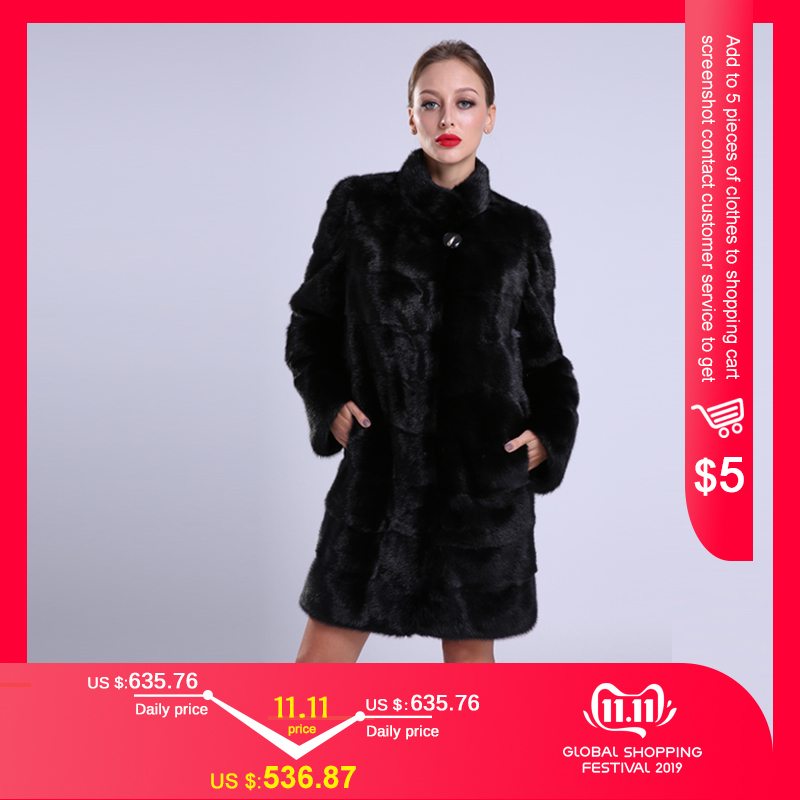 2018 New Style Fashion Natural Mlnk Stand Collar Good Quality Mlnk Fur Coat  Women Natural Black Coats Of Mlnk