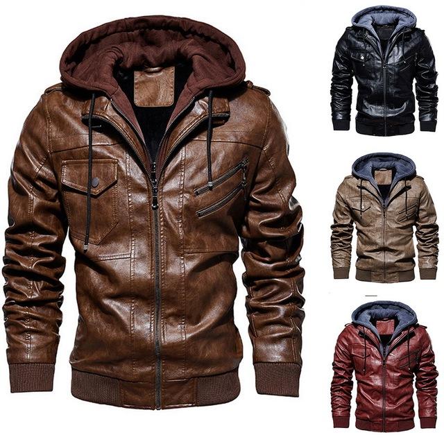 Windbreaker Hooded PU Jackets Male New Autumn Winter Motorcycle Leather Jacket Men Warm Outwear PU Baseball Jackets Size M-4XL
