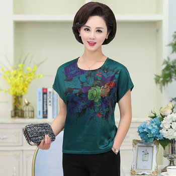 Mature Women Summer Silk Stain Blouses Red Green Floral Pattern Short Sleeve Drop Shoulder Round Collar Thin Top Middle Age Lady army green round neck cold shoulder thermal top