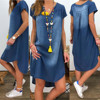 Women's Summer Cotton Dress Female Casual V Neck Denim Long Party Dresses Solid Color Short Sleeve Comfortable Loose Dress 1