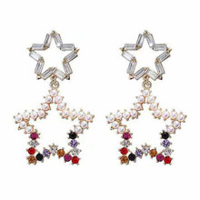 new fashion long crystal hollow star stud earrings for women gold color personality prevent allergy big pearl gift