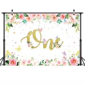 Image 3 - פרפרים יום הולדת רקע מסיבת ילדה פרחוני פרפר רוצה תינוק מקלחת רקע צבעי מים פרחי יילוד גמדי קשת