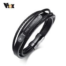 Black Genuine Leather Bracelet Men Jewelry Emergency Free Engraving ICE Medical DIABETES 8.3″