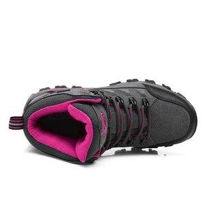 Image 4 - Winter Waterproof Hiking Boots Women Trekking Shoes Outdoor Mountain Leather Treking Sneakers Sepatu Gunung Montagna Botas