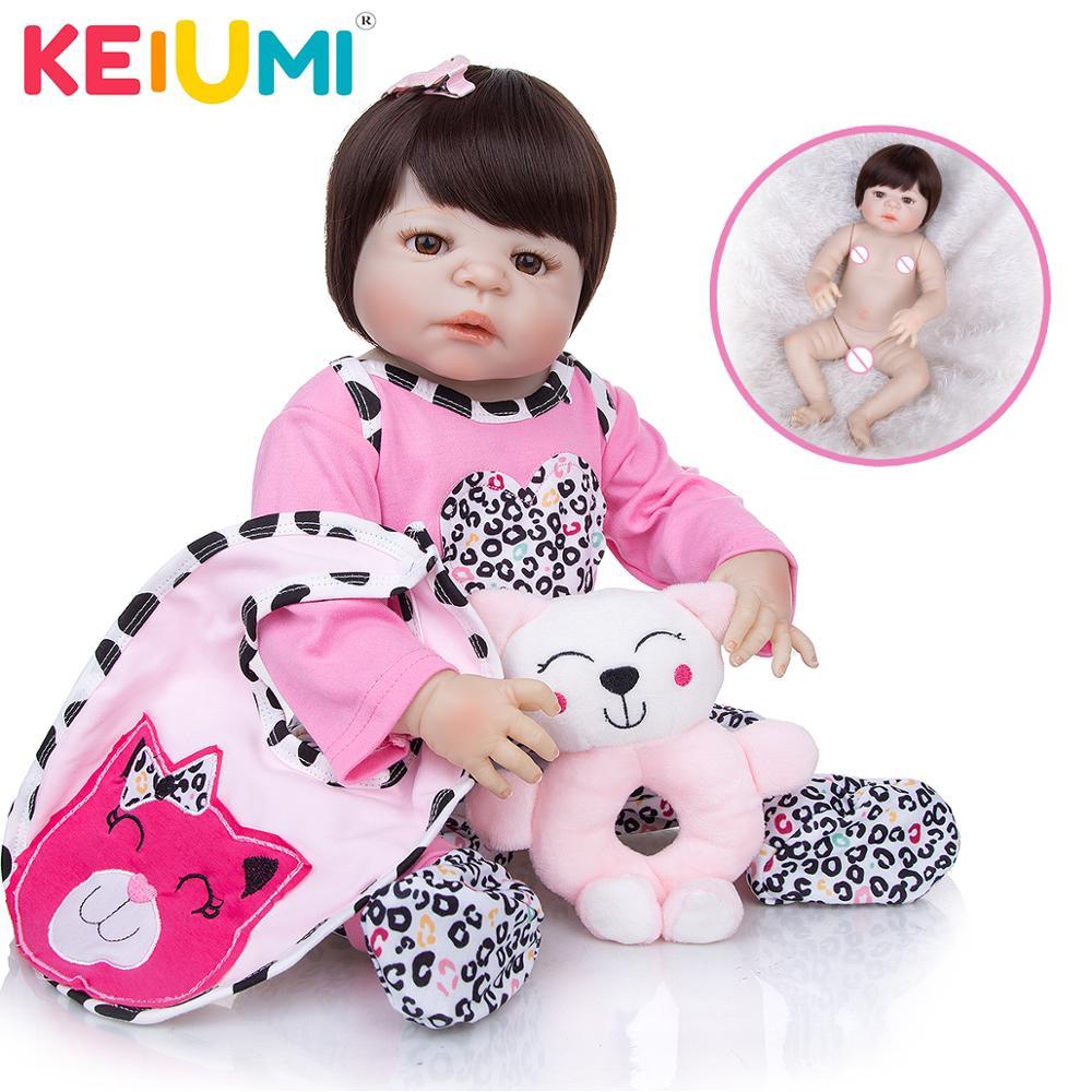 KEIUMI Großhandel Reborn Baby Vinyl Puppe Volle Silikon Körper Lebensechte Reborn Menina Boneca 23 Zoll Pädagogisches Spielkameraden Spielzeug