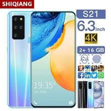 SOYES-teléfono inteligente S21, pantalla de 6,3 pulgadas, 2GB de RAM, 16GB de ROM, batería de 4800mAh, desbloqueado facial, identificación de huellas dactilares, Android