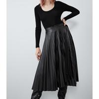 autumn winter women solid fashion Black PU chic casual ZA style highstreet leather Pleated skirt female