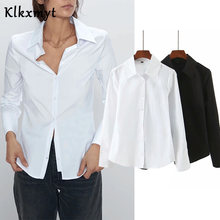 Klkxmyt england style office lady solid cotton za blouse women blusas mujer de moda 2020 simple shirt womens tops and blouse(China)