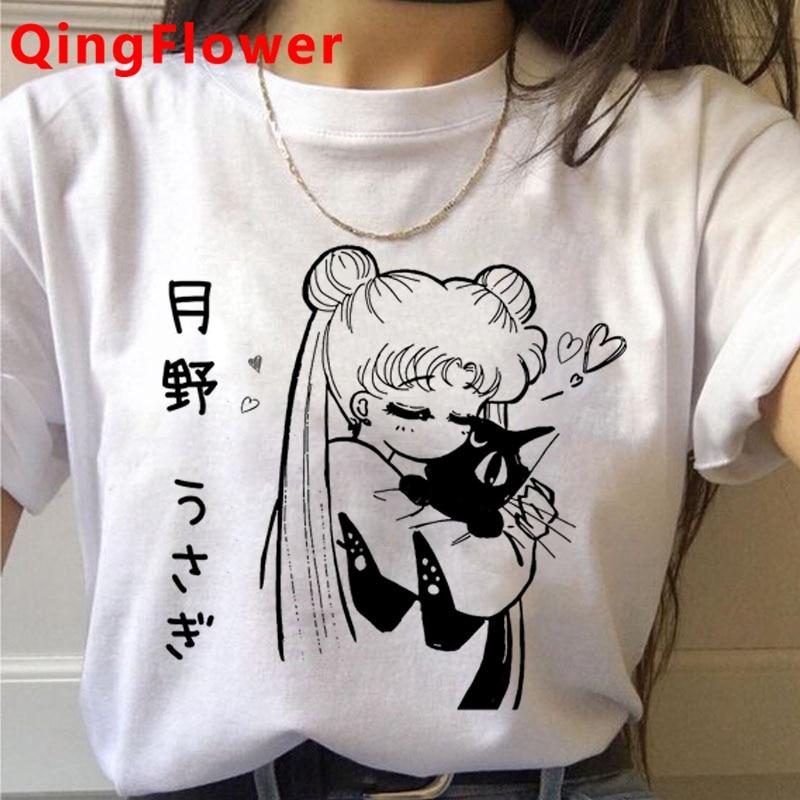 Sailor Moon Usagi Kawaii Funny Cartoon T Shirt Women Cute Anime Harajuku T-shirt Ullzang Graphic Tshirt Fashion Top Tees Female