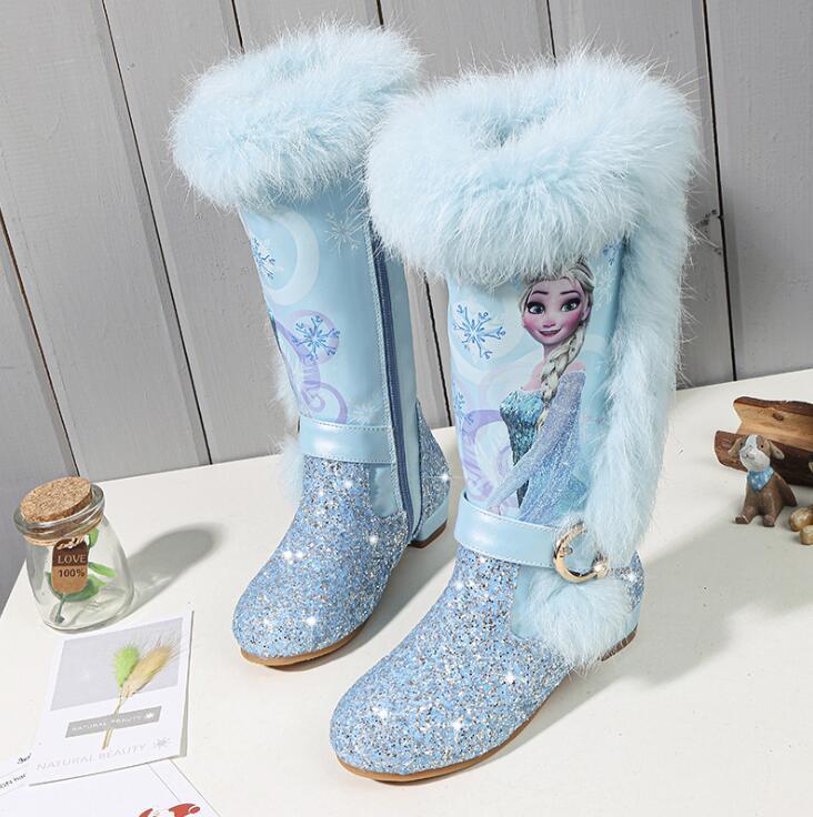 Детская обувь для девочек Снежная королева принцесса на высоком каблуке хлопковые ботинки Дети Эльза плюс бархат толстый теплый блестками ботиночки