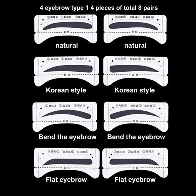 Stickable Artifact Thrush Aid Card Eyebrows Mold Thrush Card 8 Pairs Eyebrow Makeup Tools Makeup Accessories