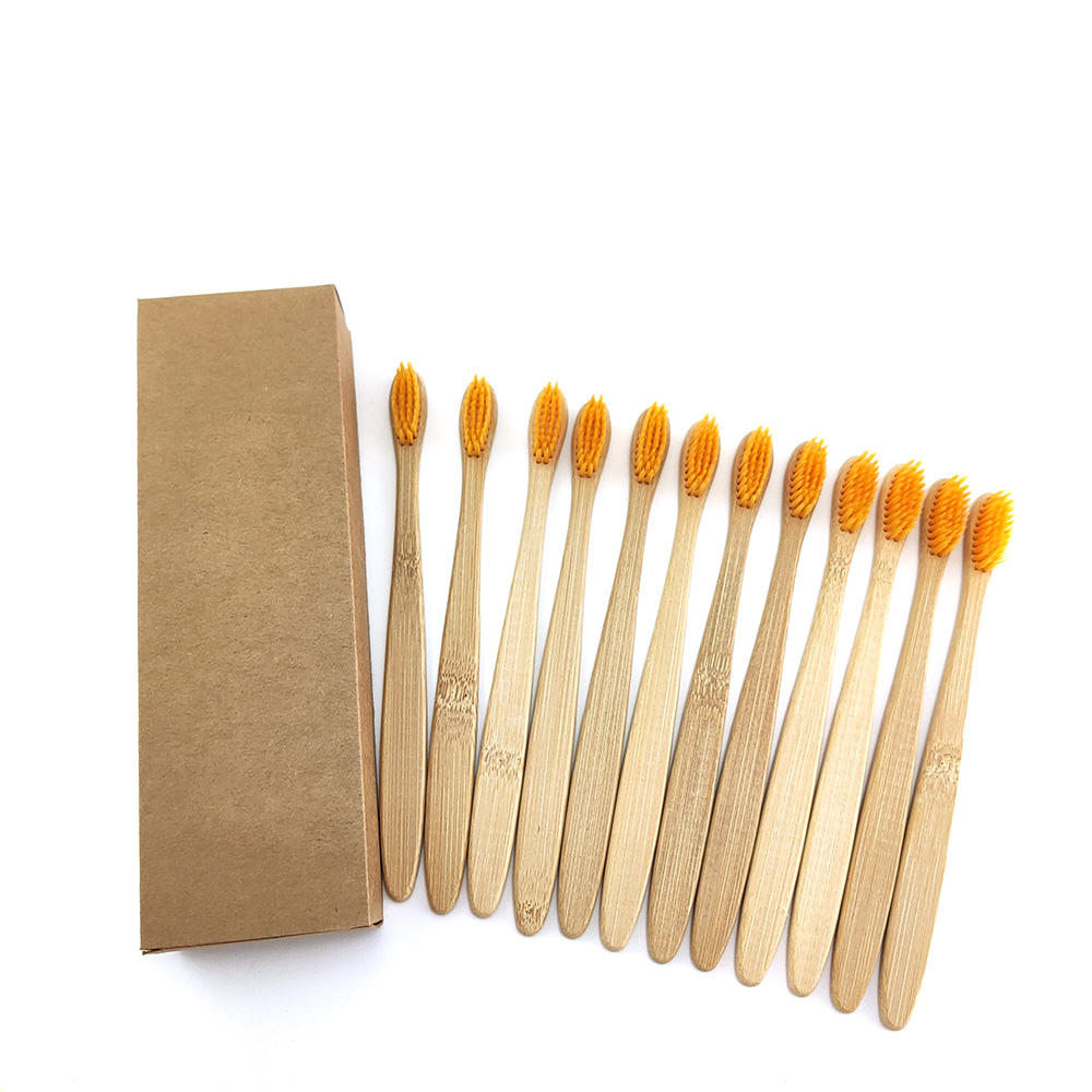 12pcs/set Environmental Bamboo Charcoal Toothbrush For Oral Health Low Carbon Medium Soft Bristle Wood Handle Toothbrush image