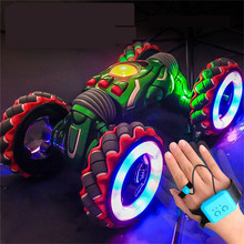 Large wheel 1/10 2.4G Gesture Sensor Twisted Car Light Music Remote Control Stunt Car Dancing drift RC Car For Kids Presents